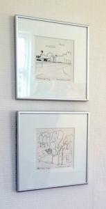 2 tuschtegninger af Eva H. Andersen